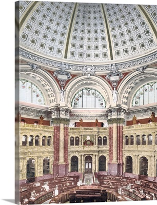 Library of Congress Reading Room in Rotunda District of Columbia Vintage Photograph