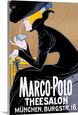 Marco Polo, Thee Salon, Munchen, Vintage Poster