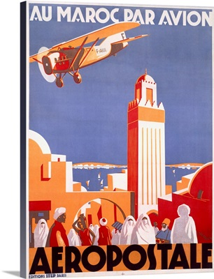 Marocco via Aeropostale Airline, Vintage Poster