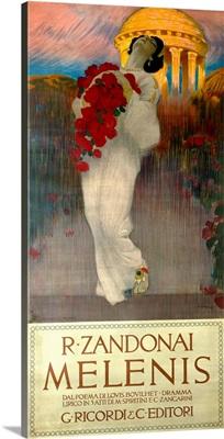 Melenis, R. Zandonai, Woman with Roses, Vintage Poster