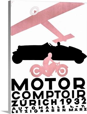 Motor Comptoir, Vintage Poster, by Otto Baumberger