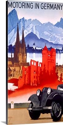 Motoring in Germany, Vintage Poster