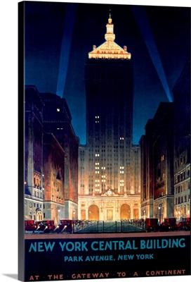 New York Central Building, Park Avenue, 1930, Vintage Poster, by Chesley Bonestell