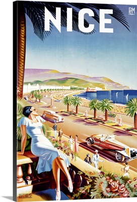 Nice Riviera Beach Resort Vintage Advertising Poster