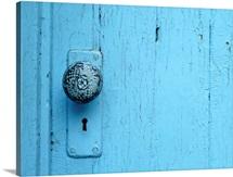 Painted Blue Doorknob