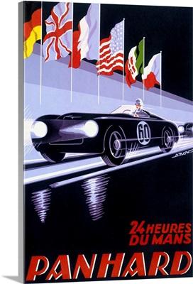 Panhard Le Mans, Automobile Racing, Vintage Poster
