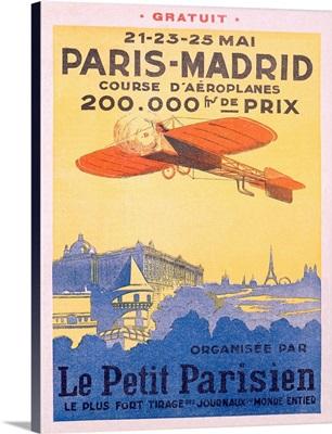 Paris Madrid, Le Petit Parisien, Vintage Poster
