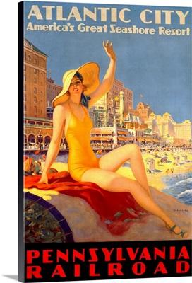 Pennsylvania Railroad, Atlantic City, Vintage Poster, by Edward M. Eggleston