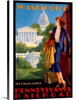 Pennsylvania Railroad, Washington D.C., Vintage Poster, by Edward M. Eggleston
