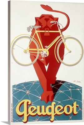 Peugeot Bicycle, Lion, Vintage Poster