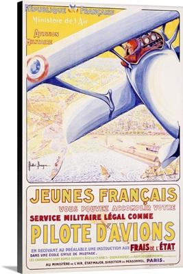 Pilote dAviationes Military, Aviation, Vintage Poster