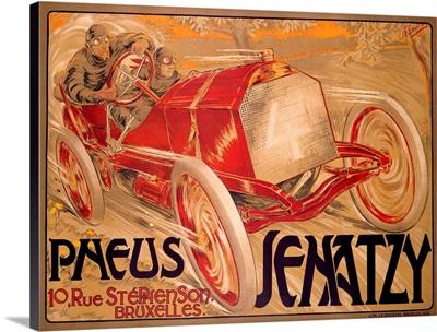 Pneus Jenatzy, Vintage Poster, by Georges Gaudy