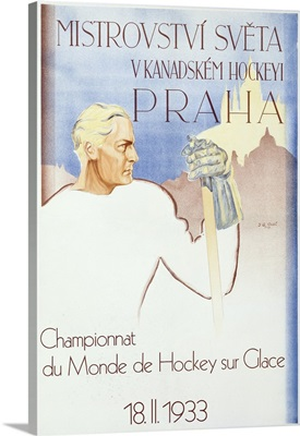 Praha, Championnat du Monde de Hockey, Vintage Poster