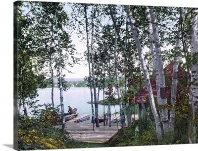 Raquette Lake from St. Huberts Isle Adirondack Mountains