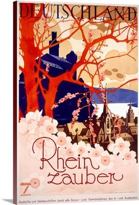 Rhein zauber, Deutchland, Vintage Poster, by Ludwig Hohlwein