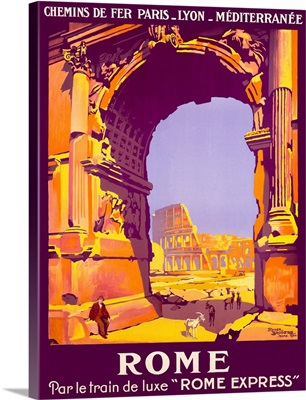 Rome, French Railway Travel on the Rome Express, Vintage Poster, by Roger Broders