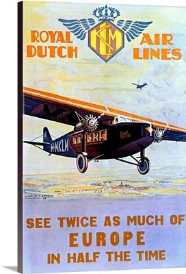 Royal Dutch Airlines, KLM, Vintage Poster