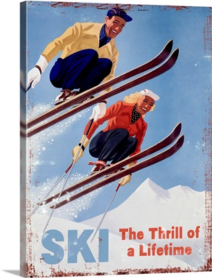 Ski The Thrill of a Lifetime Vintage Advertising Poster