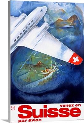 Suisse, Par Avion, Vintage Poster