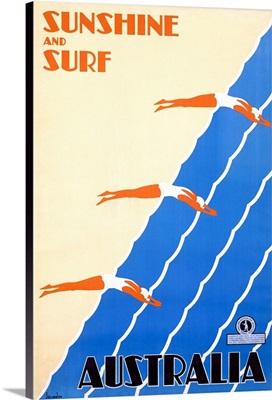 Sunshine and Surf, Australia, Vintage Poster, by Sellheim