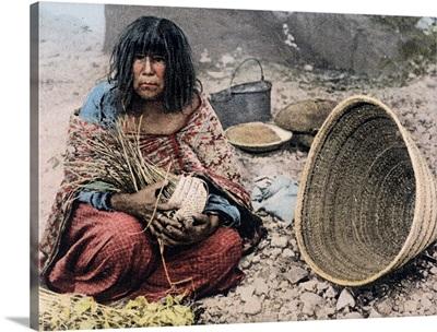 Supai Squaw Weaving Basket Cataract Canyon Arizona Vintage Photograph