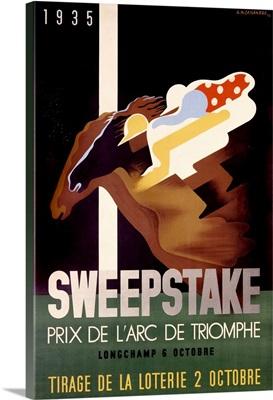 Sweepstake, Prix de LArc de Triomphe, Vintage Poster