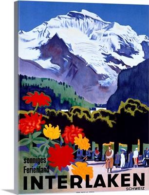Swiss Alps, Interlaken, Vintage Poster