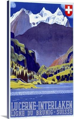 Swiss Alps Lucerne Interlaken, Vintage Poster