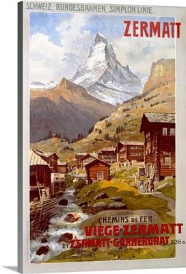 Swiss Alps, Zermatt, Matterhorn, Vintage Poster, by Anton Reckziegel