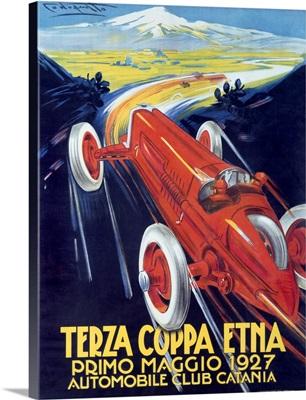 Terza Coppa Etna, Auto Road Rally, Vintage Poster, by Franco Codognato