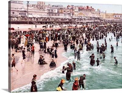The Beach at Atlantic City New Jersey Vintage Photograph