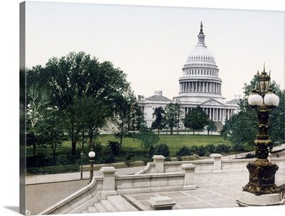 The Capitol from the Library Steps Washington District of Columbia Vintage Photograph
