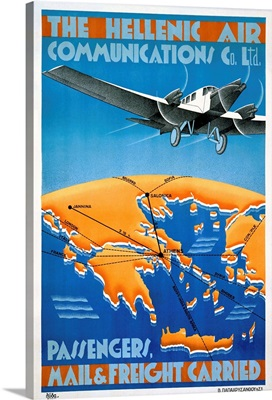 The Hellenic Air, Mail & Freigh Carried, Vintage Poster