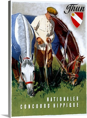 Thun, Nationaler Concours Hippique, Vintage Poster, by Iwan E. Hugentobler