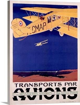 Transports Par Avions, Vintage Poster, by Terrando