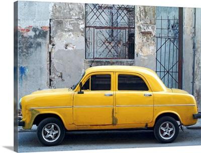 Vintage Cuban Yellow Car