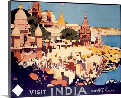 Visit India, Vintage Poster, by Fred Taylor