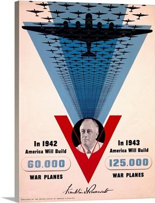 War Planes, Victory, Franklin D. Roosevelt, Vintage Poster, by Jean Carlu