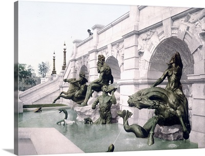 Washington Neptunes Fountain Library of Congress District of Columbia Vintage