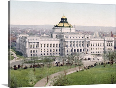 Washington West Facade Library of Congress District of Columbia Vintage Photograph