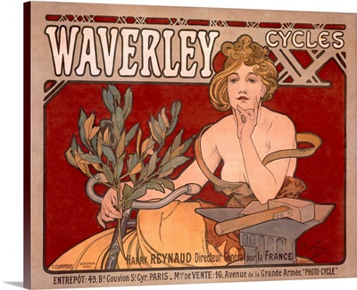 Waverley Cycles, Vintage Poster, by Alphonse Mucha