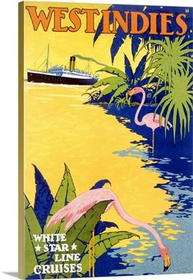 White Star Ocean Lines, West Indies, Vintage Poster