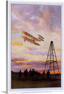 Wilbur Wright Aviation, Biplane, Vintage Poster, by A. Serougart