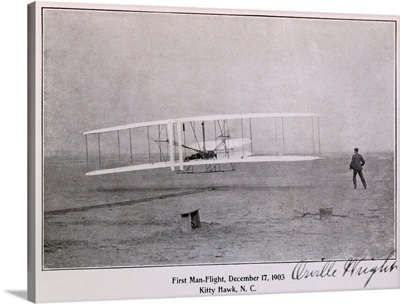 Wright Brothers Flight at Kitty Hawk Vintage Photograph