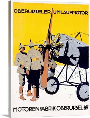 WWI Airplane, Motorenfabrik Oberursel, Vintage Poster