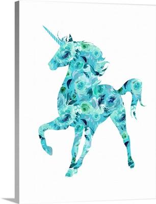 Blue Floral Unicorn