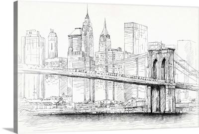 Brooklyn Bridge Pen and Ink