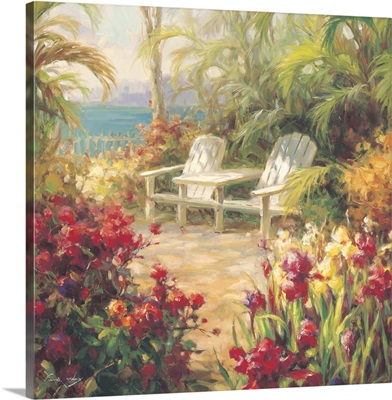 Garden on the Beach with Two Beach Chairs