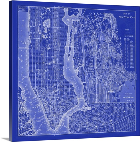 Nyc blueprint wall art canvas prints framed prints wall peels nyc blueprint malvernweather Image collections