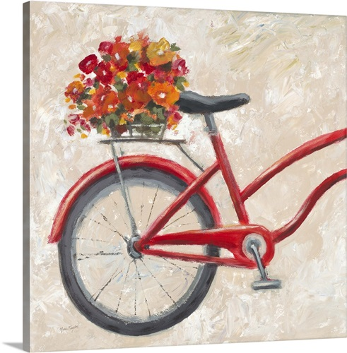 red floral bicycle wall art canvas prints framed prints wall peels great big canvas. Black Bedroom Furniture Sets. Home Design Ideas